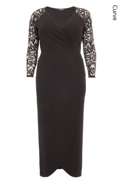 Curve Black Lace Maxi Dress